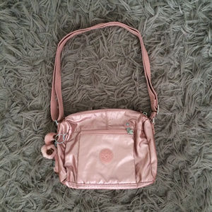 Pink Metallic Kipling Wes Crossbody Bag Purse